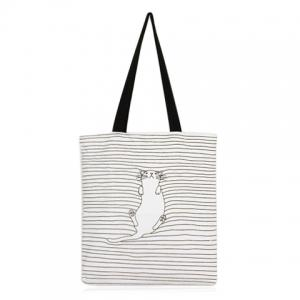 Canvas Cat Striped Shopper Bag - White - 39