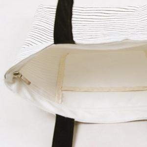Canvas Cat Striped Shopper Bag - WHITE