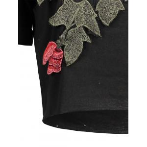 Distressed Floral Embroidered Cropped Tee - BLACK S