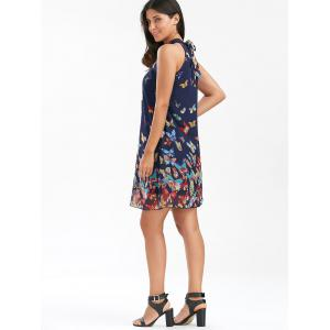Butterfly Print Sleeveless Chiffon Dress - PURPLISH BLUE XL