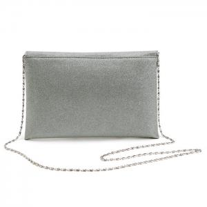 Glitter Clutch Bag with Chain - SILVER
