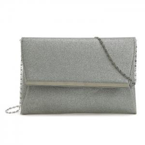 Glitter Clutch Bag with Chain - Silver - 38