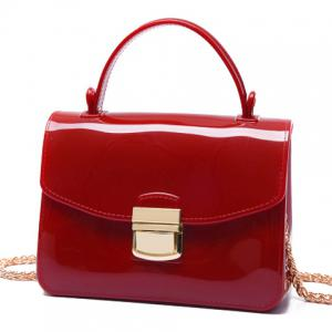 Chain and Metal Detail Jelly Handbag - RED