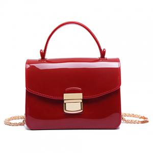 Chain and Metal Detail Jelly Handbag - Red - Horizontal
