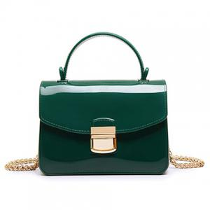 Chain and Metal Detail Jelly Handbag - Green - 3xl