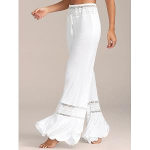 Lace Insert High Waisted Flowy Palazzo Pants - White - S