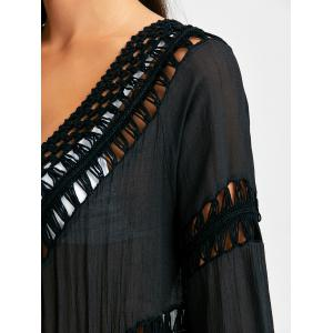 Crochet Panel Wrap Cover Up with Tassel - BLACK ONE SIZE