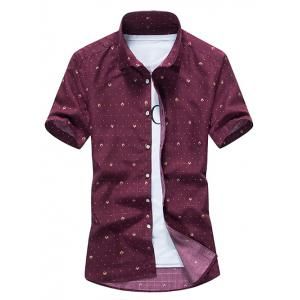 Allover Dot Print Casual Shirt - Wine Red - 2xl