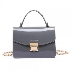 Chain and Metal Detail Jelly Handbag - Gray - Xl