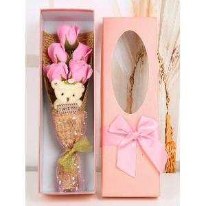 5 Pcs Handmade Rose Soap Artificial Flower and Bear - Pink