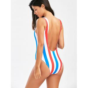 Stripe Open Back One Piece Swimsuit - RED/WHITE XL