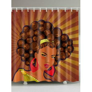 Afro Girl Unique Fabric Shower Curtain - Brown - W71 Inch * L79 Inch