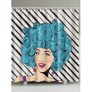 Afro Hairstyle Girl Printed Fabric Shower Curtain