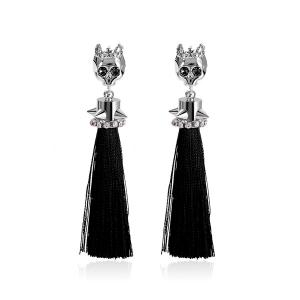 Rhinestone Skull Tassel Rivets Drop Earrings