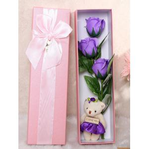 3 Pcs Handmade Soap Rose Artificial Flower and Bear - Purple