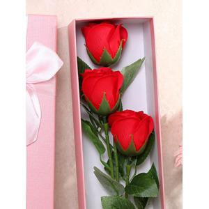 3 Pcs Handmade Soap Rose Artificial Flower and Bear - BRIGHT RED