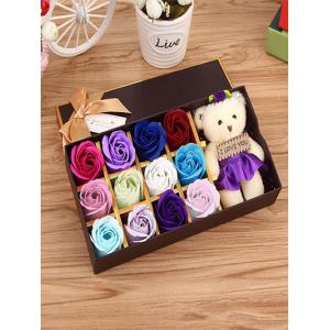 12 Pcs Gradient Rose Soap Artificial Flowers and Bear - Colormix