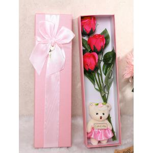 3 Pcs Handmade Soap Rose Artificial Flower and Bear - Tutti Frutti