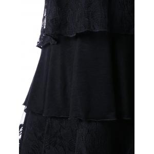 Lace Panel Layered Plus Size Tank Top - BLACK 4XL