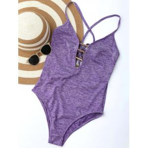 Plunge Lace Up Monokini - Purple - Xl