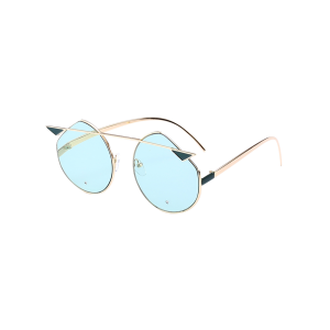 Cat Eye Metallic Crossbar Mirror Cut Sunglasses