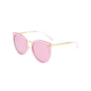 Cat Eye Mirrored Alloy Leg Splicing Sunglasses - Pink Frame+pink Lens