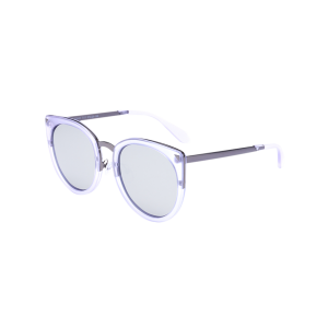 Cat Eye Mirrored Alloy Leg Splicing Sunglasses - Transparent Frame + Silver Lens