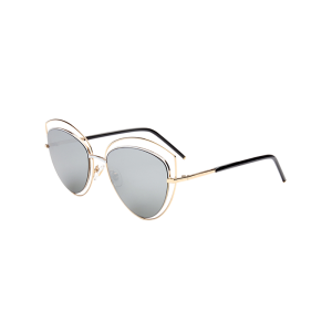 Reflective Wide Cat Eye Shape Mirror Sunglasses - Gold Frame + Silver Lens