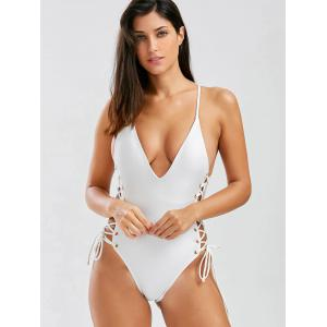 Lace Up Open Back One-Piece Swimwear - OFF WHITE S
