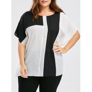 Plus Size Colorblock Side Slit Chiffon Top