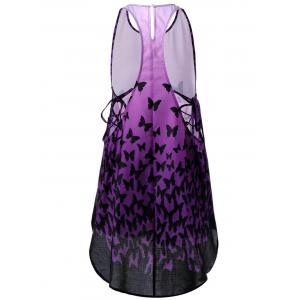 Ombre Lace Up Racerback Tank Dress - PURPLE M