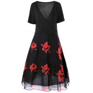 Two Layered Plus Size  Midi Floral Surplice Dress - Black And Red - Xl