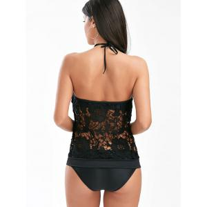 See-Through Lace Panel Backless Tankini Swimsuits - BLACK M
