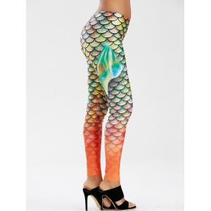 Scale Allover Print Mermaid Leggings - Green - Xl