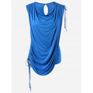 Tie Side Ruched Overlay Sleeveless T-Shirt