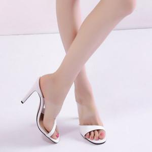 Transparent Plastic Faux Leather Slippers -
