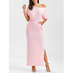 Skew Neck Maxi Slit Evening Dress