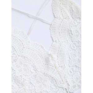 Backless Lace Insert Floral Romper - WHITE S