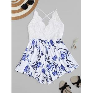 Backless Lace Insert Floral Romper - White - Xl