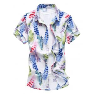 Short Sleeve Feathers Printed Shirt