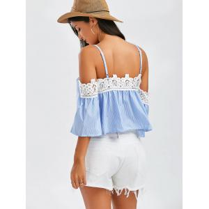 Laced Striped Cold Shoulder Top -