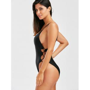 Lace Up Backless One Piece Swimwear - BLACK S