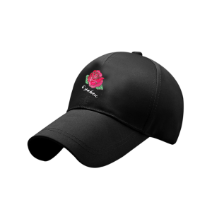 Bowknot Tail Rose Embroidered Baseball Hat - Full Black - One Size