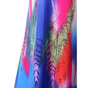 Feather Print Summer Slip Beach Dress -