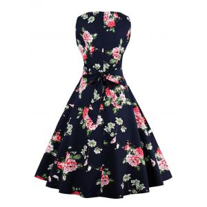Vintage Floral Fit and Flare Dress - PURPLISH BLUE S