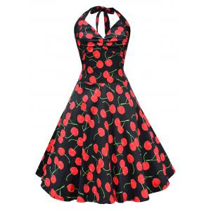 Vintage Cherry Print Lace Up Halter Dress