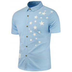 Patch Embellished Stars Printed Shirt - Blue - Xl
