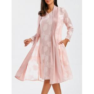 V Neck Sleeveless Flower Dress With Coat - Pink - 2xl