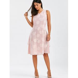 V Neck Sleeveless Flower Dress With Coat - PINK 2XL