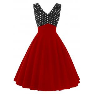 Vintage Polka Dot Insert Pin Up Flare Dress - Red - M